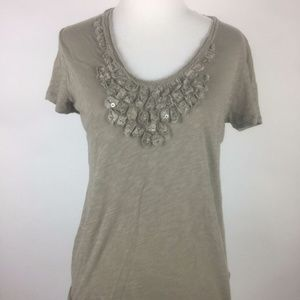 J.Crew Olive Green Tan Sequined Flowers T-Shirt